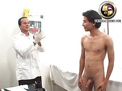 Thick uncut latino boy has his cock and body examined