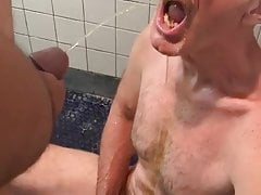 Cockboy732 piss in face and mouth masturbates bathroom floor