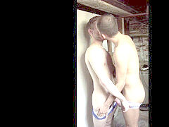 two unshaved guys have a super hot time together