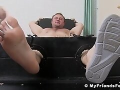 'BDSM hunk tied up to have his buff body and bare feet teased'